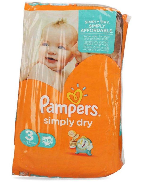90er-Pack Pampers Simply Dry Windeln (Größe 3) für 9,99€ (Stückpreis: 11 Cent)
