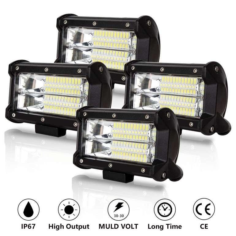 Hengda LED Arbeitsscheinwerfer mit 72 Watt reduziert, z.B. 4er Pack für 27,99€