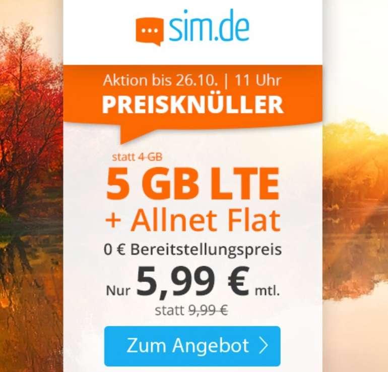 Sim.de: o2 Allnet-Flat mit 5GB LTE Datenvolumen für 5,99€ mtl. (auch ohne Laufzeit!)