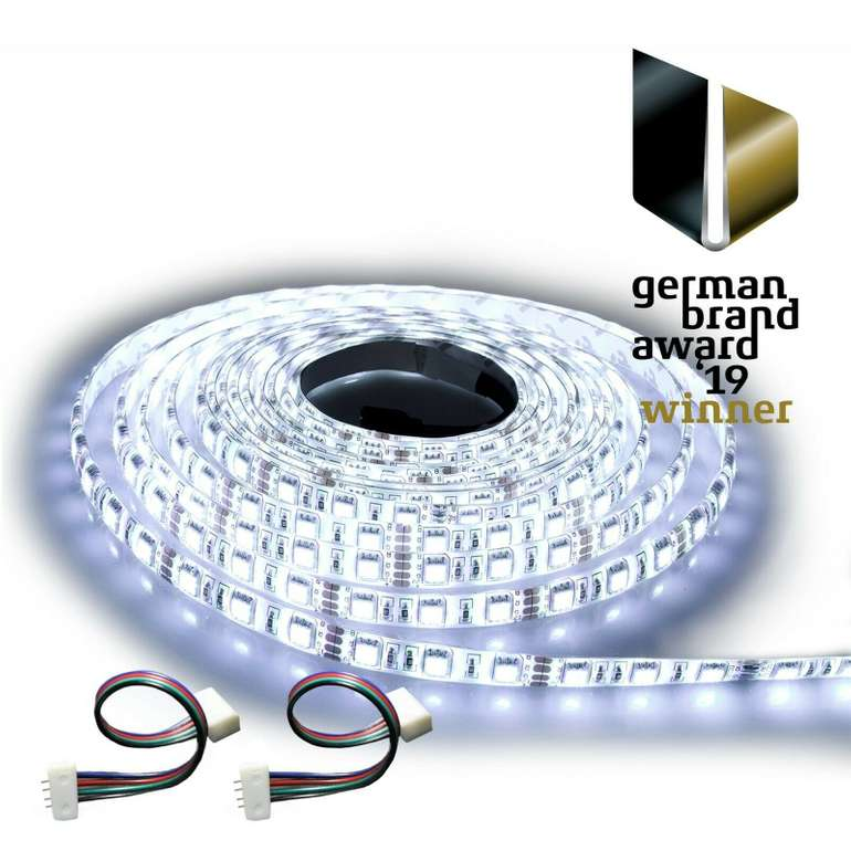 Ninetec 5m Stripe mit 60 LEDs pro Meter IP20 / IP65 (Warmweiß oder Kaltweiß) für 8,88€