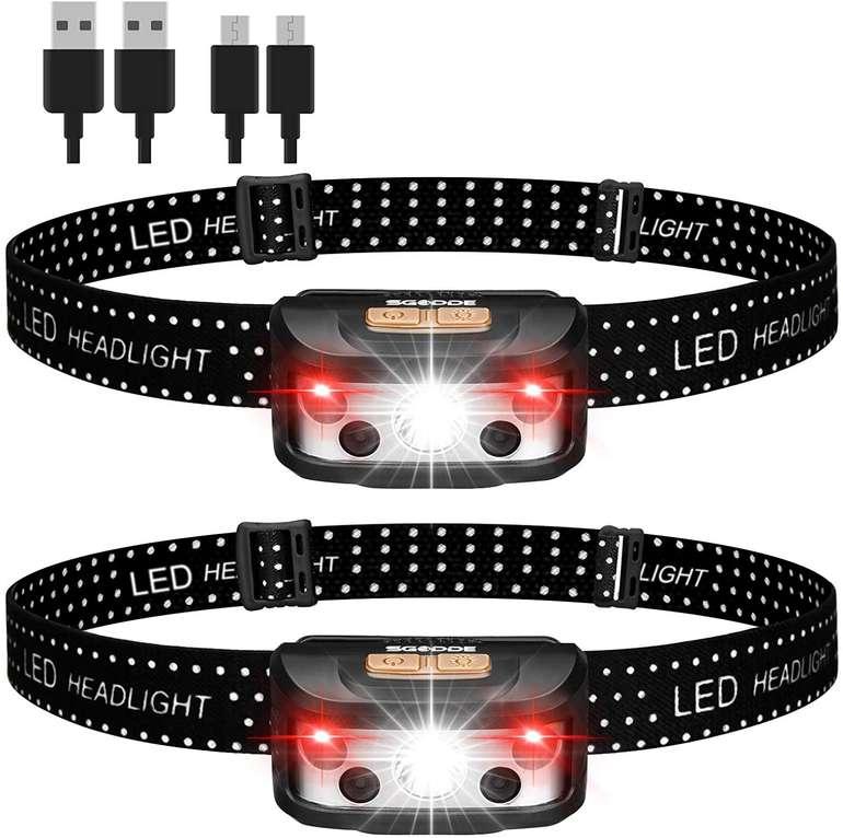 Sgodde 2er Pack LED Stirnlampen (wiederaufladbar, IPX65) für 12,53€ inkl. Prime Versand