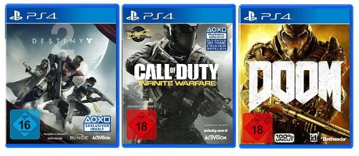 PS4 Games Bundle (Call of Duty/Destiny 2/DOOM) für 19€ inkl. Versand (statt 32€)