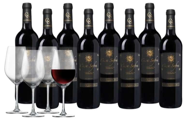 Weinpaket: 8 Flaschen Casa Safra Terra Alta DO Gran Reserva + 4 Schott Zwiesel Weingläser für 44,99€