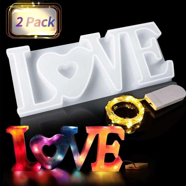 """Jeteven 3D Gießform """"Love"""" inkl. Lichterkette ab 5,39€ inkl. Prime Versand (statt 9€)"""