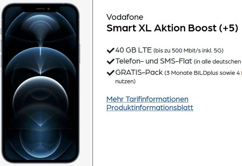 iPhone 12 Pro mit 128 GB Vodafone Smart XL Aktion Boost mit 40 GB LTE Allnet