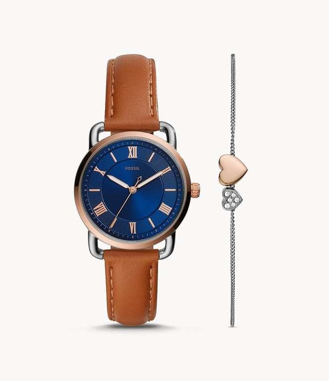 """Fossil Set Armband + Damenuhr """"Copeland"""" aus Leder in Hellbraun für 90,30€ inkl. Versand (statt 103€)"""