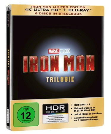 Iron Man Trilogie - Limited 4K Ultra HD Edition (Steelbook) für 45,98€ inkl. VSK