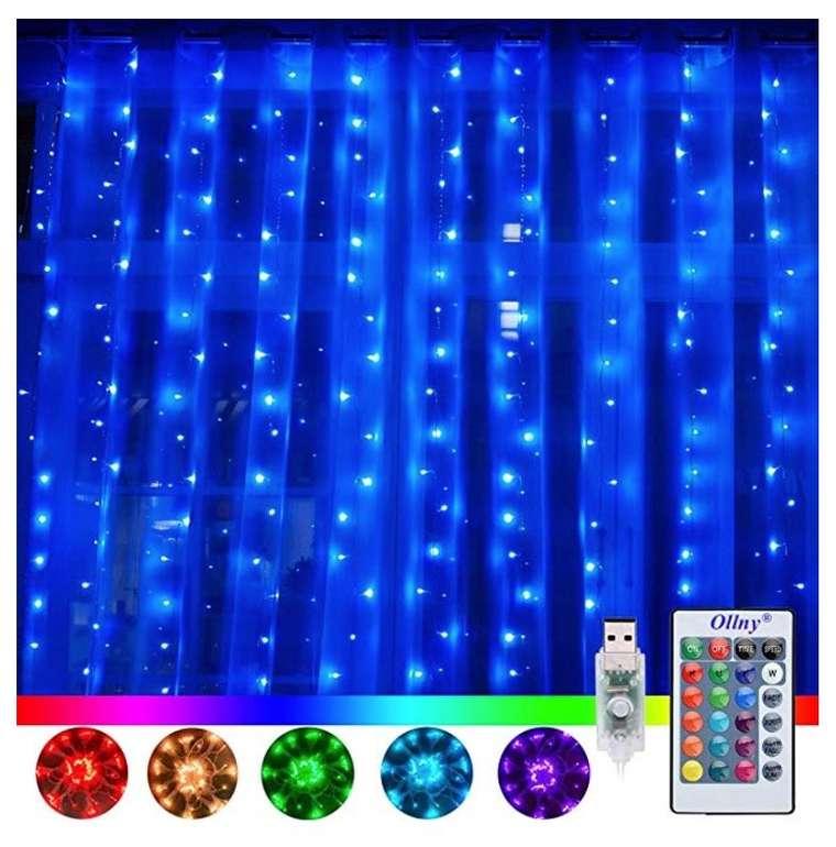 Ollny 3x3m LED Lichtervorhang mit 240 LEDs, 16 Farben & 4 Modi + Fernbedienung & Timer ab 9,51€