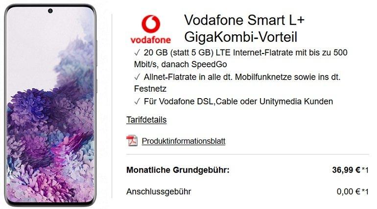 Samsung Galaxy S20 5G Vodafone Smart L+ Allnet Flat