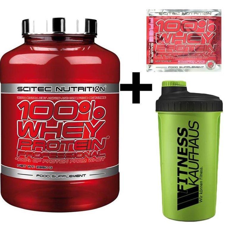 2350g Scitec Nutrition 100% Whey + Shaker + Produktproben für 25,95€ inkl. VSK