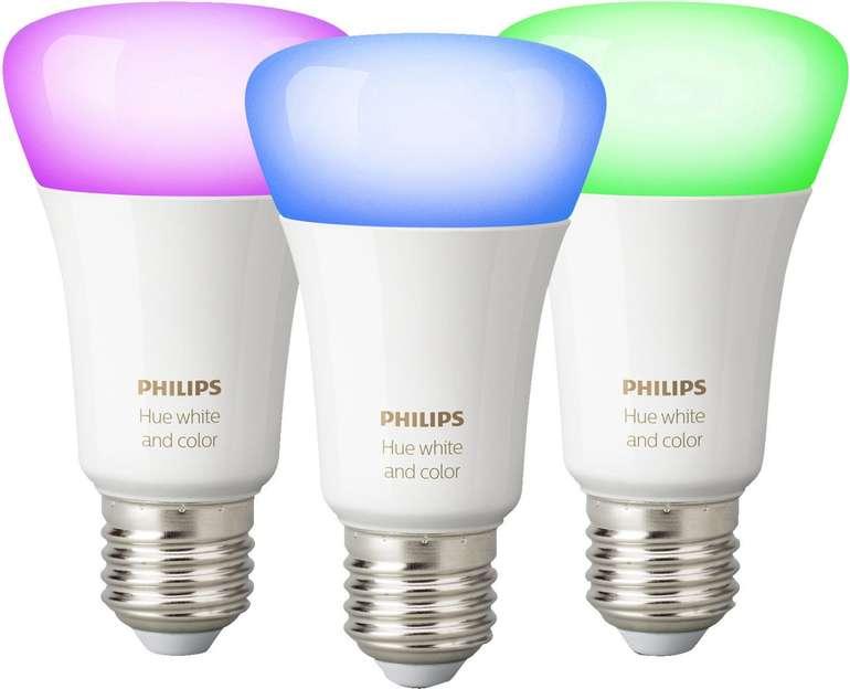 3er Pack Philips Hue White & Color Ambiance E27 Bluetooth Lampen für 88,99€ inkl. Versand (statt 106€)