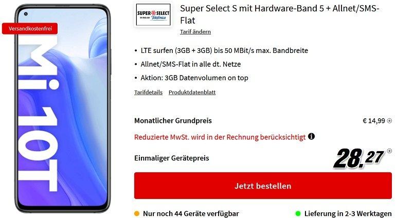 Xiaomi Mi 10T 128GB o2 Super Select S Allnet-Flat mit 6GB LTE