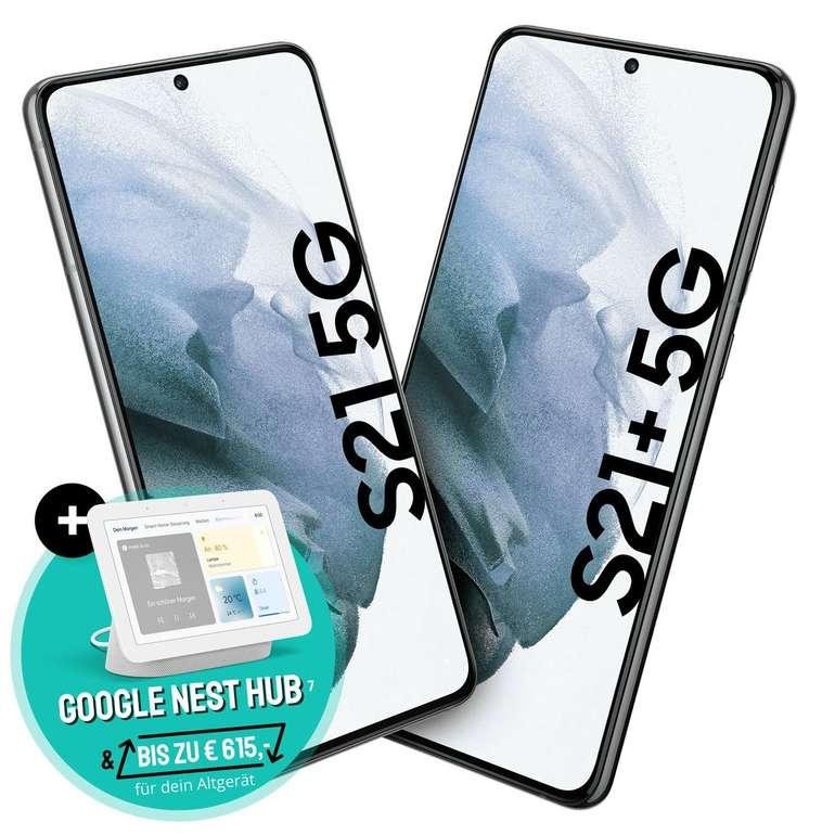 Samsung Galaxy S21 (4,95€) oder S21+ (99€) + Google Nest Hub mit o2 Free L Boost Young (120 GB 5G/LTE, Allnet & SMS Flat) für 34,99€ mtl.