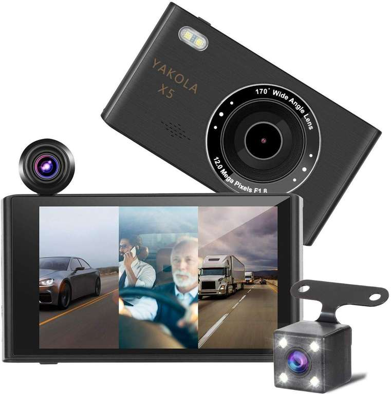 3 Yakola Produkte günstiger bei Amazon, z.B. Yakola X5 Dashcam + Rückfahrkamera für 71,99€