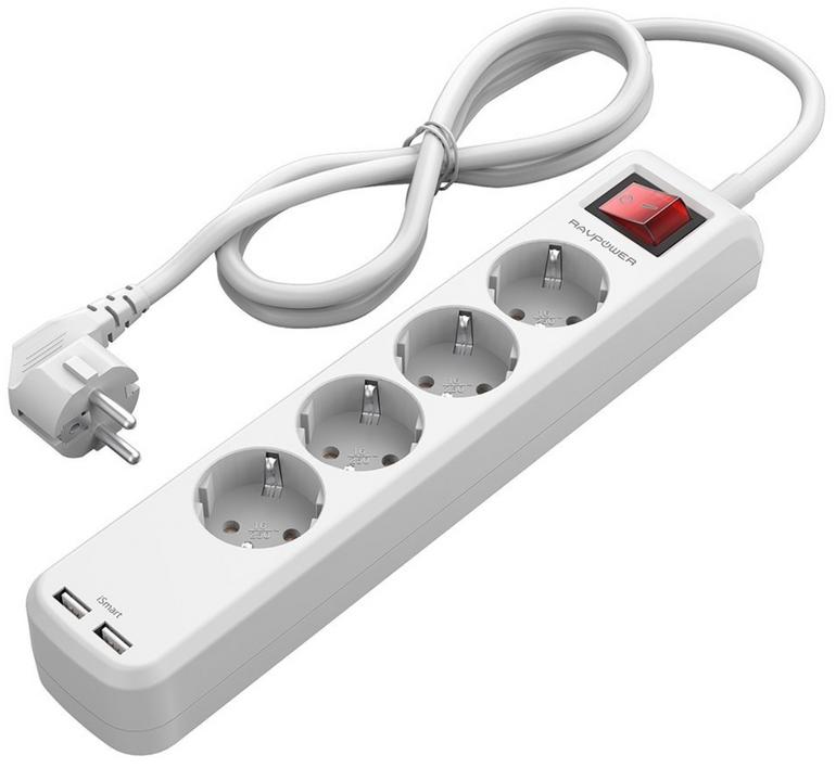 Top! RAVPower 4-fach Steckdosenleistemit USB Anschlüssen für 9,99€ inkl. VSK