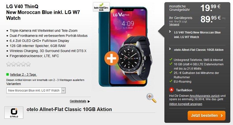 LG V40 ThinQ + LG W7 Watch Otelo Vodafone Allnet-Flat 10GB LTE