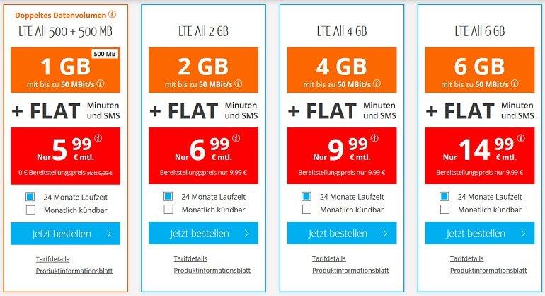o2 Allnet-Flat mit 1GB LTE Datenvolumen 2