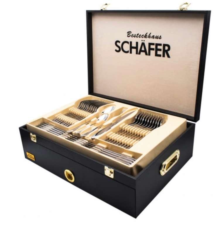 """Schäfer Besteckset """"Mirror+Gold"""" im Holzkoffer (72-teilig, 18/10-Edelstahl, spülmaschinengeeignet) für 79,99€"""