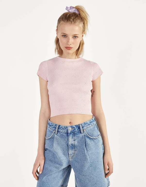 Bershka Geripptes Shirt mit Herzmuster in Rosa und Gelb für 6,49€ zzgl. Versand (statt 13€)