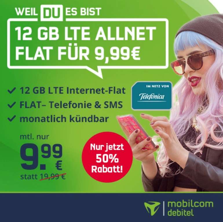 Endet morgen um 11 Uhr: o2 Allnet-Flat mit 12GB LTE (bis zu 50 Mbit/s) für nur 9,99€ (mtl. kündbar!)