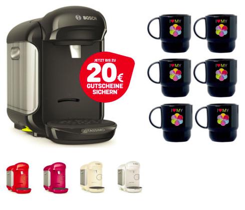 Bosch Tassimo Vivy 2 TAS140 + 20€ Gutscheine + 6 Tupper Becher für 29,99€