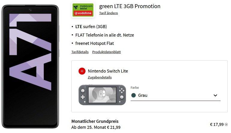 Samsung Galaxy A71 + Nintendo Switch Lite MD Vodafone Allnet-Flat 3GB LTE
