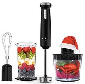 Homgeek 600W Stabmixer + Küchenmaschinenaufsatz, Becher & Schneebesen zu 25,99€