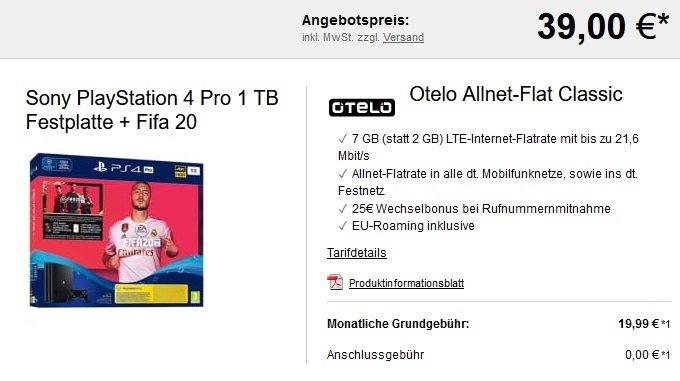Otelo Vodafone Classic 7GB LTE Allnet-Flat PS4 Pro Fifa
