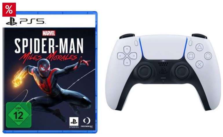 PlayStation 5 Dualsense Wireless-Controller inkl. Marvel's Spider-Man: Miles Morales für 105,94€ (statt 117€)