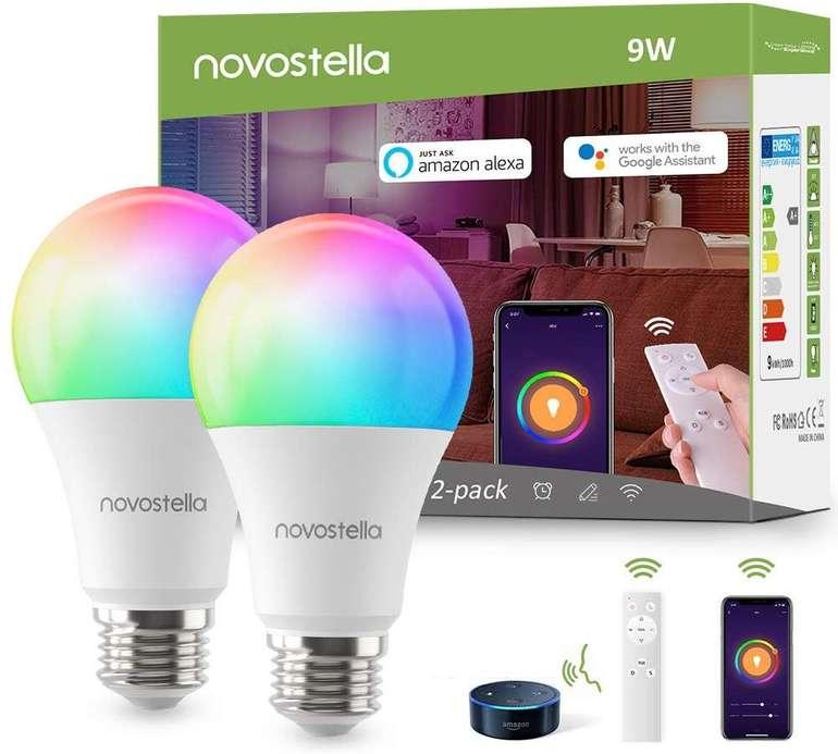 Novostella 2er Pack smarte LED RGB Glühbirne (Alexa kompatibel, dimmbar, E27) für 21,99€ (Prime)