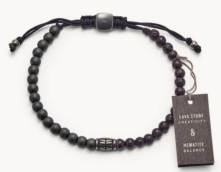 Fossil Herren Armband - Hematite and Black Lava Stone (JF03008793) für 24,50€ inkl. Versand (statt 35€)