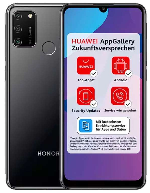 "Honor 9A - 6,3"" Dual-SIM Smartphone (64GB + 3GB RAM, Android 10 AOSP, 13MP Triple-Kamera) für 85,49€"