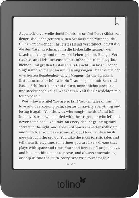 """Tolino E-Book Reader """"Page 2"""" für 49€ inkl. Versand (statt 72€)"""