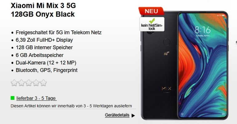 Xiaomi Mi Mix 3 5G 128GB Vodafone Red XS Allnet-Flat 9GB LTE