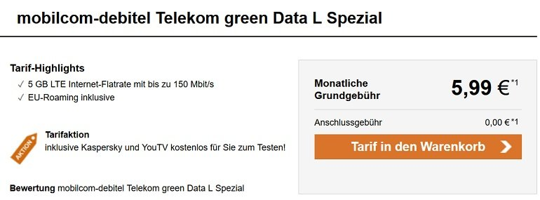 mobilcom-debitel Telekom green Data L 5GB LTE