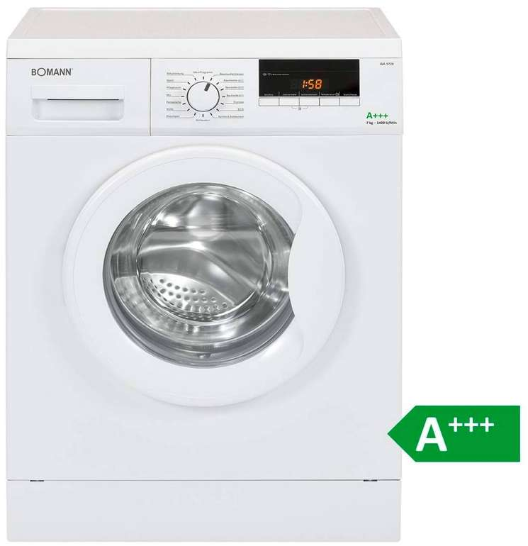 Bomann WA 5729 - 7kg Waschmaschine (Frontlader, 1400 U/Min., A+++) je 229€