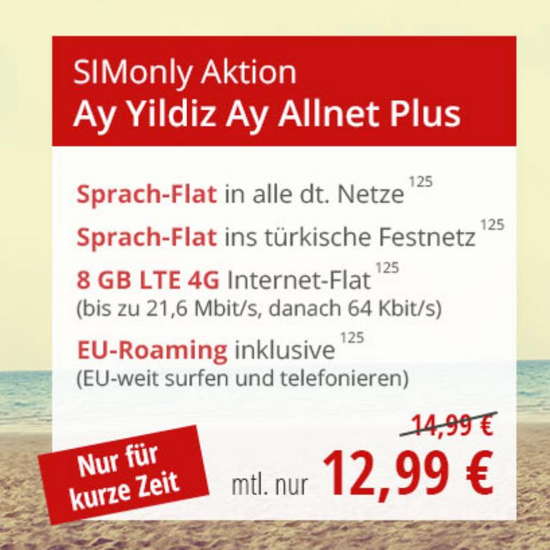 Ay Yildiz Sommerangebote - z.B. Ay Allnet Plus (8GB LTE, Allnet-Flat) für 12,99€