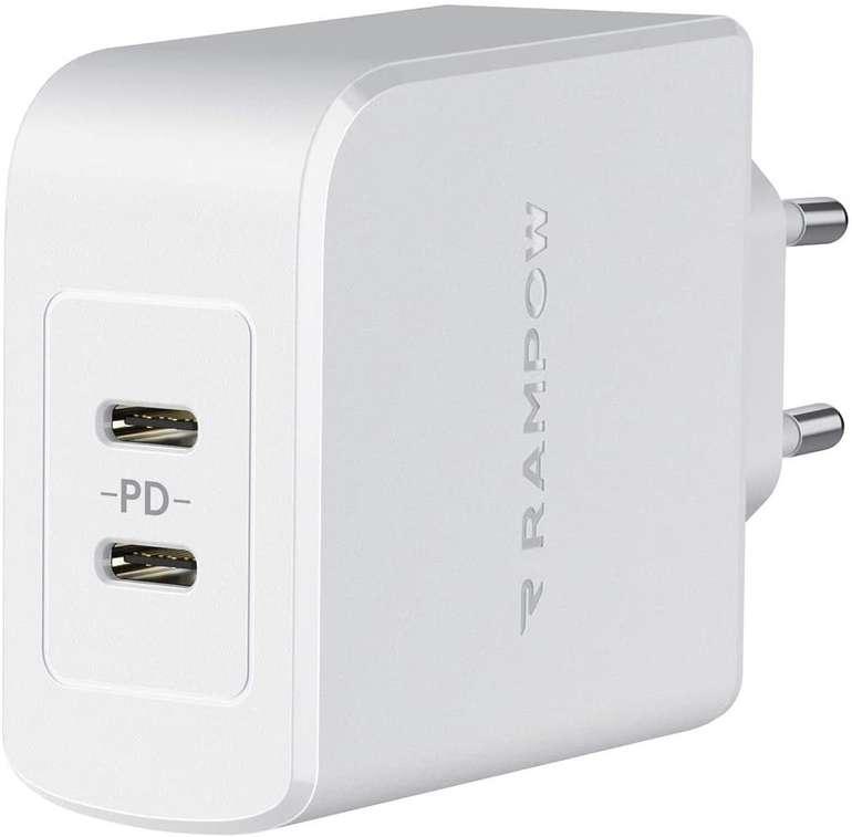 Rampow 36W USB C Ladegerät (PD, 2-Port) für 12,49€ inkl. Prime Versand (statt 25€)