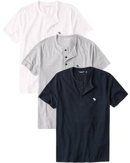3er Pack Abercrombie & Fitch T-Shirts mit Knopfleiste für 42,32€ (statt 60€)