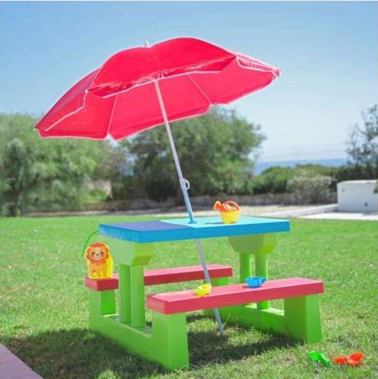Kinder Gartentisch aus Kunststoff + Schirm für 28,45€ inkl. Versand (statt 49€)