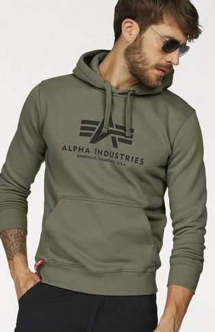 "Alpha Industries Kapuzensweatshirt ""Basic Hoody"" in oliv für 35,09€ inkl. Versand (statt 59€)"