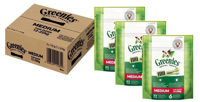 18 Greenies Medium Tägliche Zahnpflegesnacks (3 x 170g) für nur 9,99€ inkl. VSK
