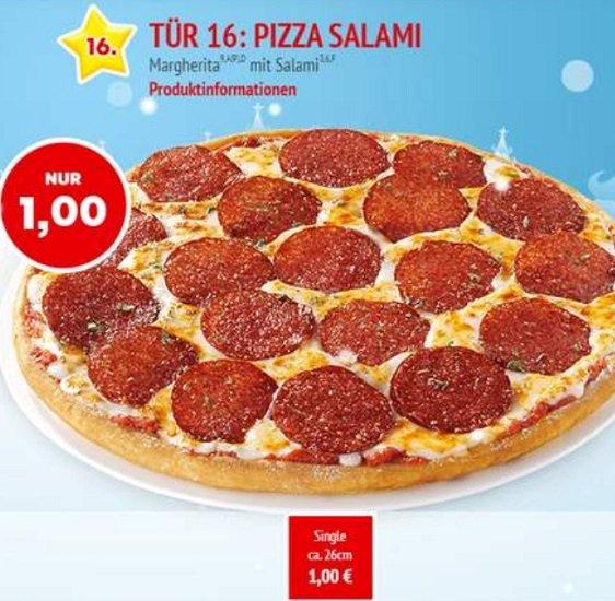 Call a Pizza Adventskalender: Pizza Salami 26cm für 1€ (Selbstabholer)
