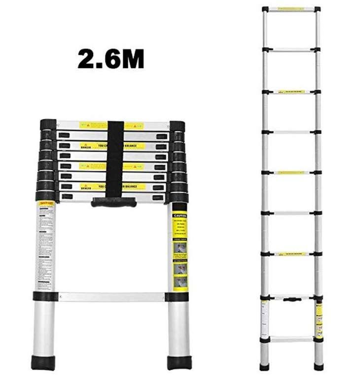 2,6m WIS Alu-Teleskopleiter (bis zu 150kg belastbar) für 38,49€ (statt 55€)