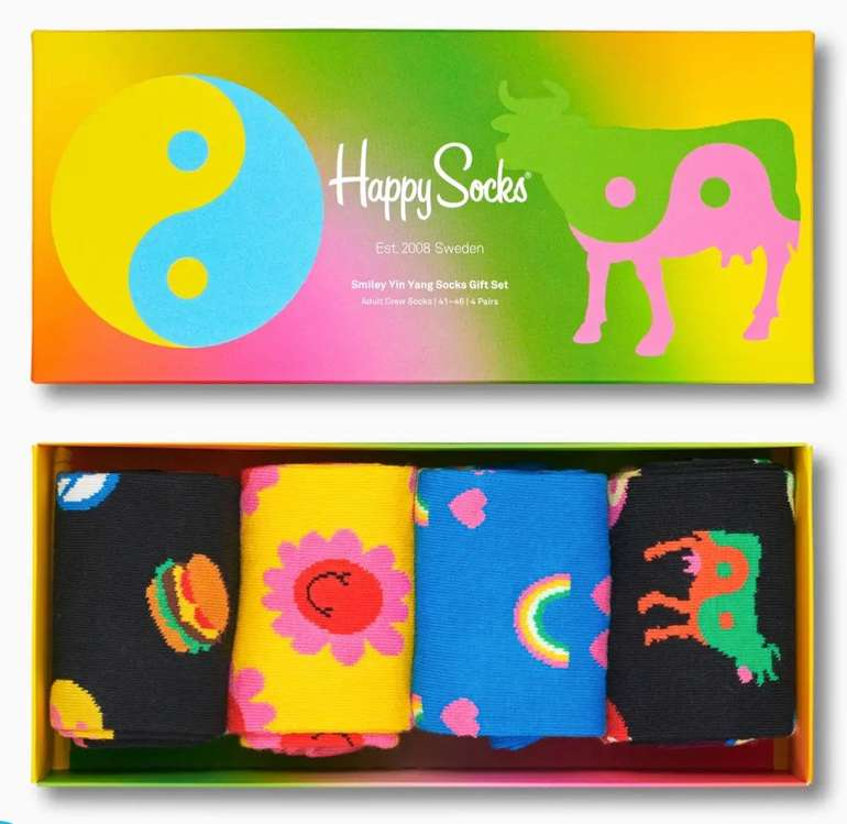 Happy Socks Sale mit 40% Rabatt + VSKfrei ab 45€ - z.B. Smile Yin Yang Socks Gift Box für 20,97€ (statt 35€)