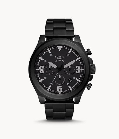 Fossil Uhr Chronograph Latitude Edelstahl schwarz (FS5754) für 79,90€ inkl. Versand (statt 140€)