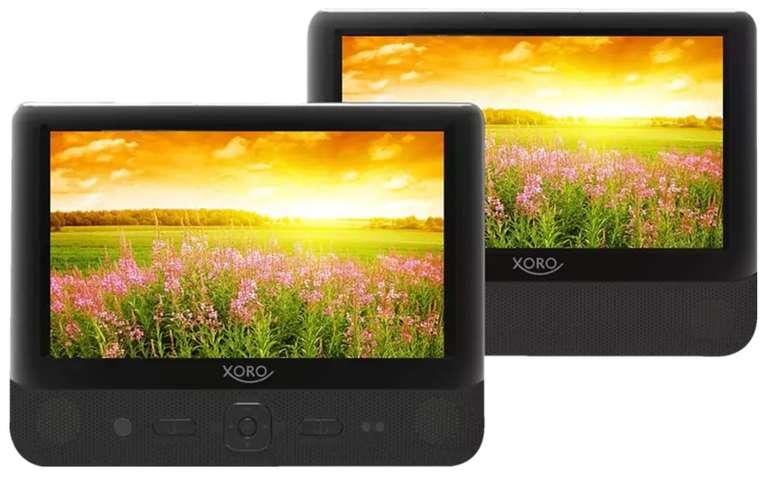 """Xoro HSD 9912 - Tragbarer DVD Player mit Dual 9"""" TFT Bildschirmen (USB 2.0, SD Kartenleser, Mediaplayer, Akku) für 62,10€"""