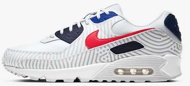 "Nike Air Max 90 Herren Sneaker im ""Midnight Navy/Bright Blue/University Red""-Colourway für 73,48€ (statt 100€)"