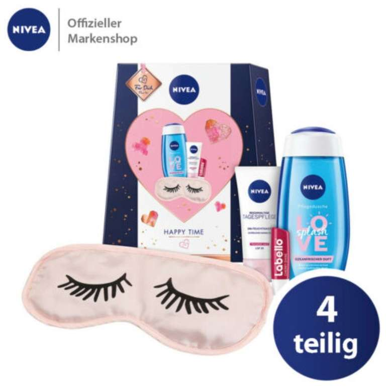 4-tlg. Nivea Happy Time Geschenkset (Schlafmaske, Tagespflege, Duschgel, Labello) für 9,99€ (statt 13€)