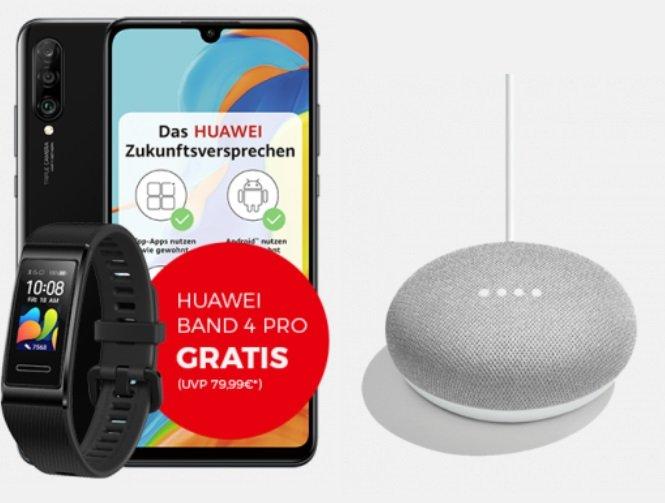 Huawei P30 lite + Band 4 Pro + Home Mini Weiß (+ 4,95€) inkl. Telekom Allnet-Flat mit 18GB LTE für 32,99€ mtl.